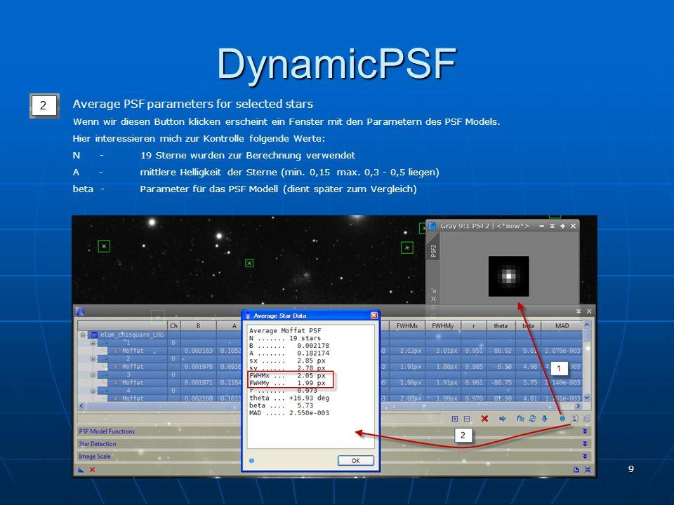 1. PixInsight Treffen 7. Jänner 2012 9 DynamicPSF Average PSF parameters for selected stars Wenn wir diesen Button klicken erscheint ein Fenster mit d