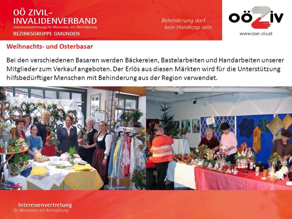 Weihnachts- und Osterbasar Bei den verschiedenen Basaren werden Bäckereien, Bastelarbeiten und Handarbeiten unserer Mitglieder zum Verkauf angeboten.
