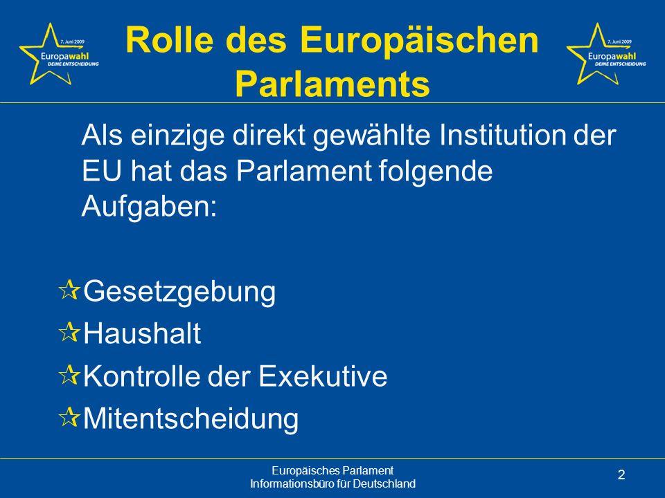 Europäisches Parlament Informationsbüro für Deutschland 13 Fraktionen Im Europäischen Parlament gruppieren sich die Abgeordneten nicht nach Ländern, sondern nach ihrer politischen Einstellung.