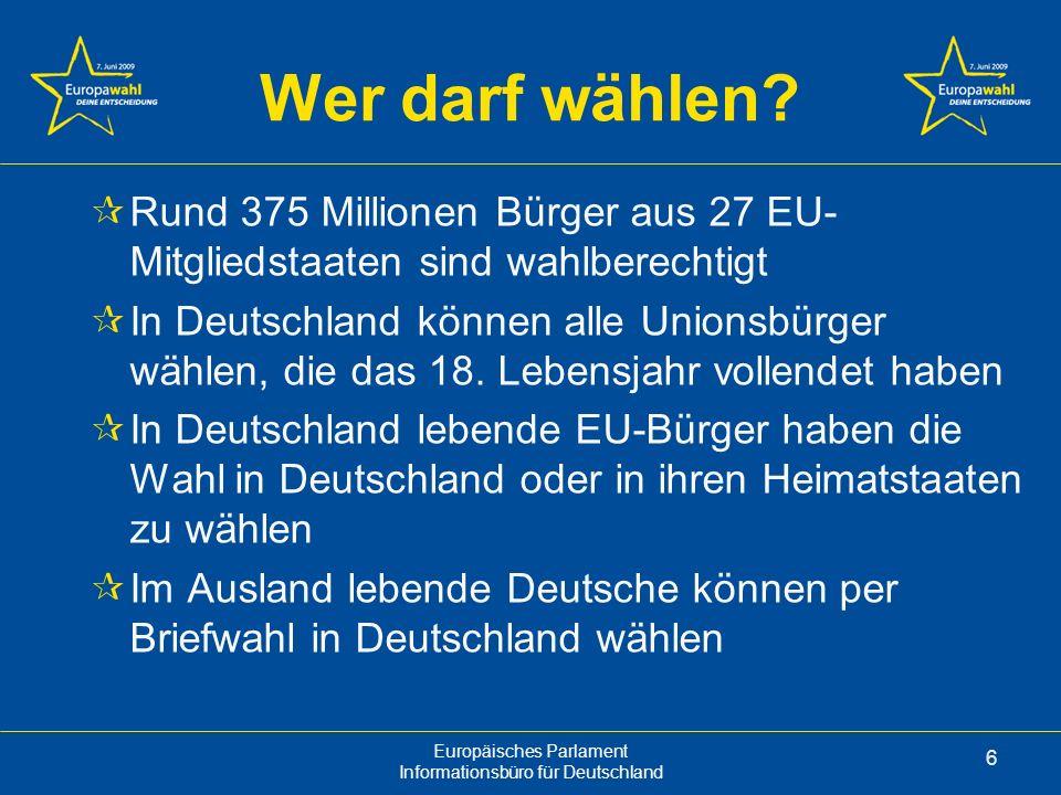 Europäisches Parlament Informationsbüro für Deutschland 6 Wer darf wählen.