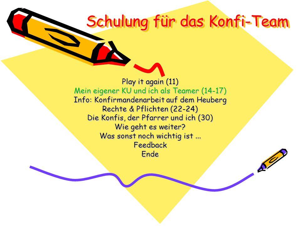 Play it again (11) Mein eigener KU und ich als Teamer (14-17) Info: Konfirmandenarbeit auf dem Heuberg Rechte & Pflichten (22-24) Die Konfis, der Pfarrer und ich (30) Wie geht es weiter.