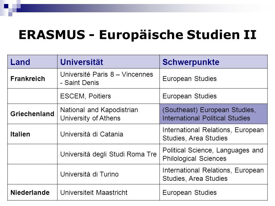7 ERASMUS - Europäische Studien II LandUniversitätSchwerpunkte Frankreich Université Paris 8 – Vincennes - Saint Denis European Studies ESCEM, Poitier