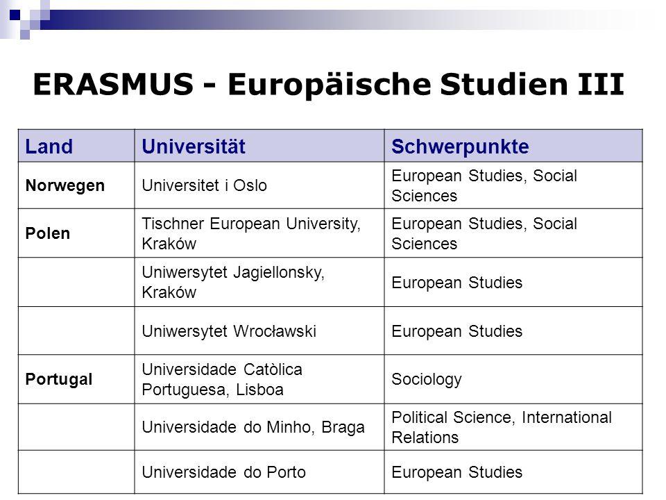 8 ERASMUS - Europäische Studien III LandUniversitätSchwerpunkte NorwegenUniversitet i Oslo European Studies, Social Sciences Polen Tischner European U