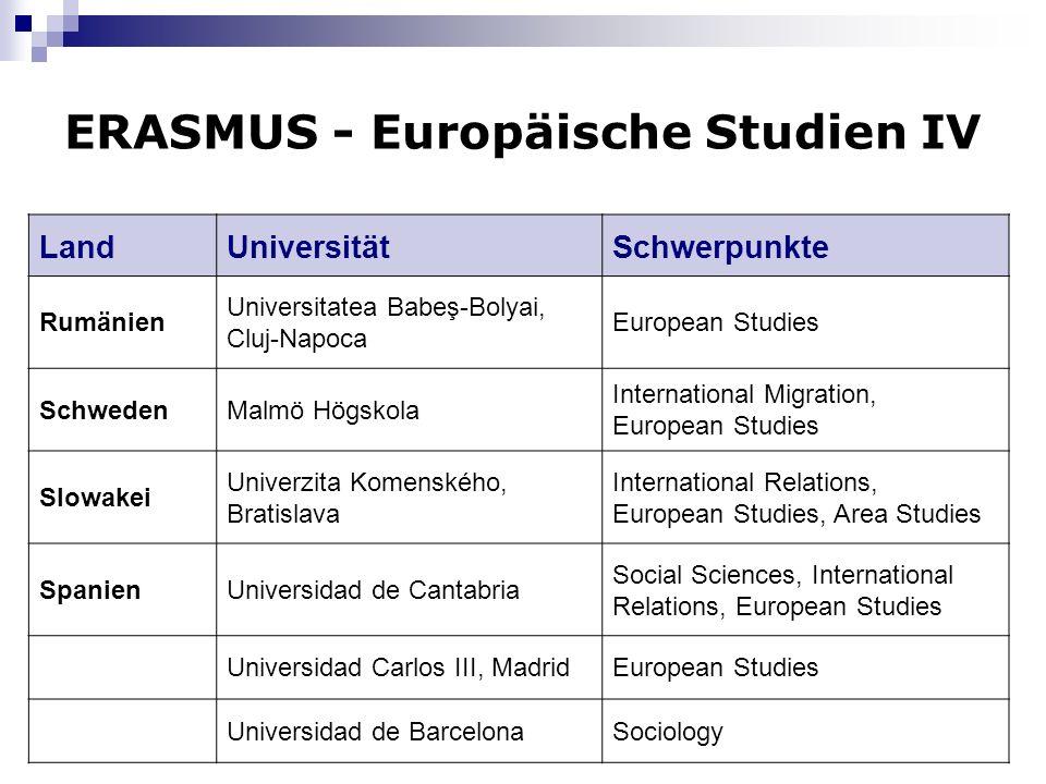 9 ERASMUS - Europäische Studien IV LandUniversitätSchwerpunkte Rumänien Universitatea Babeş-Bolyai, Cluj-Napoca European Studies SchwedenMalmö Högskol