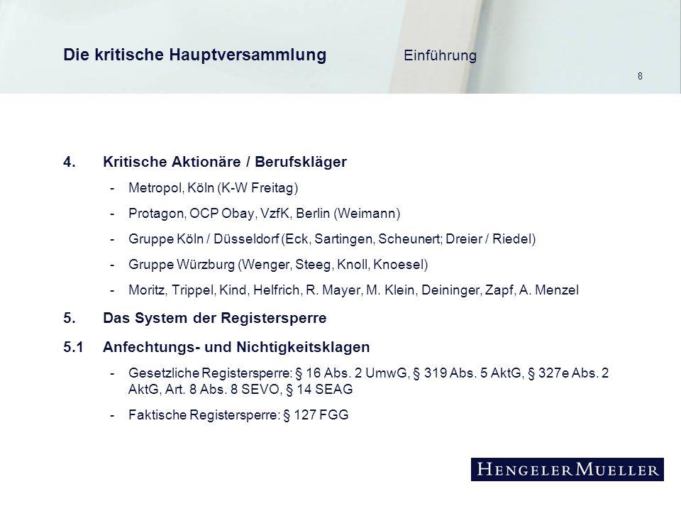 8 Die kritische Hauptversammlung Einführung 4.Kritische Aktionäre / Berufskläger -Metropol, Köln (K-W Freitag) -Protagon, OCP Obay, VzfK, Berlin (Weimann) -Gruppe Köln / Düsseldorf (Eck, Sartingen, Scheunert; Dreier / Riedel) -Gruppe Würzburg (Wenger, Steeg, Knoll, Knoesel) -Moritz, Trippel, Kind, Helfrich, R.