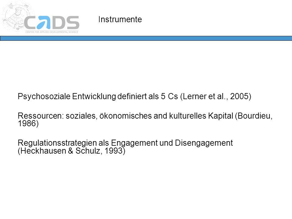 Instrumente Psychosoziale Entwicklung definiert als 5 Cs (Lerner et al., 2005) Ressourcen: soziales, ökonomisches and kulturelles Kapital (Bourdieu, 1