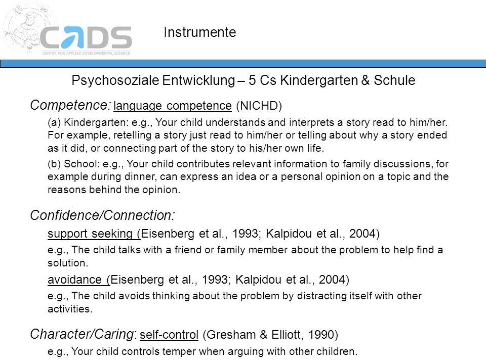 Instrumente Psychosoziale Entwicklung – 5 Cs Kindergarten & Schule Competence: language competence (NICHD) (a) Kindergarten: e.g., Your child understa