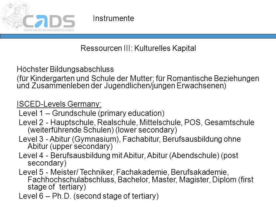 Instrumente Ressourcen III: Kulturelles Kapital Höchster Bildungsabschluss (für Kindergarten und Schule der Mutter; für Romantische Beziehungen und Zu
