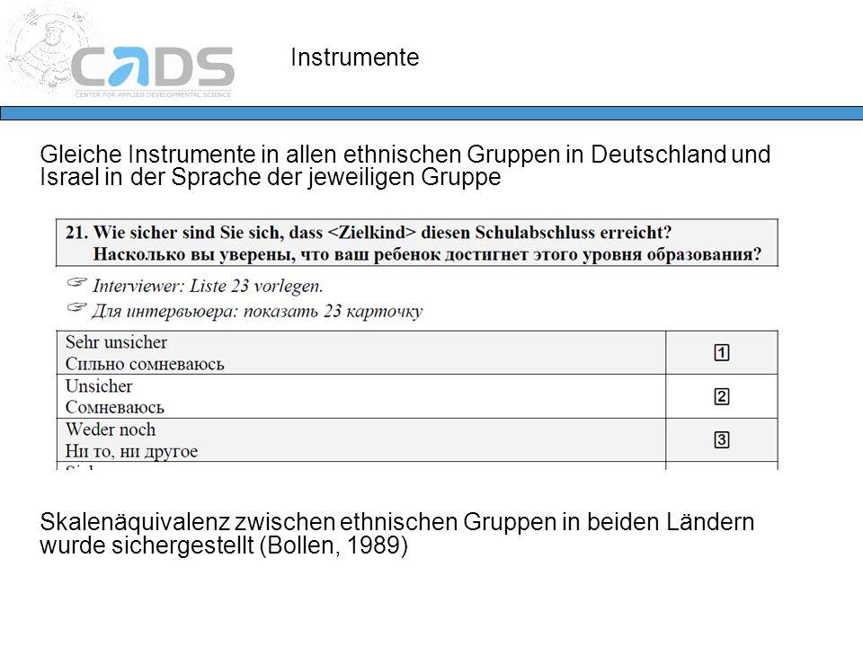 Instrumente Gleiche Instrumente in allen ethnischen Gruppen in Deutschland und Israel in der Sprache der jeweiligen Gruppe Skalenäquivalenz zwischen e