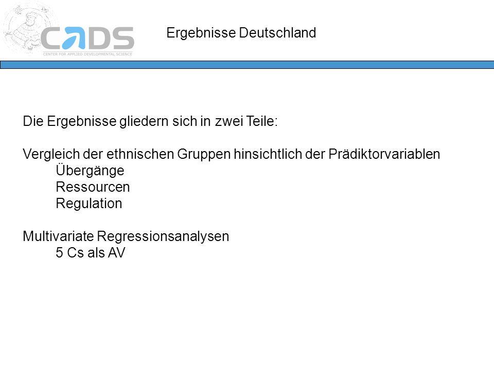 Ergebnisse Deutschland Die Ergebnisse gliedern sich in zwei Teile: Vergleich der ethnischen Gruppen hinsichtlich der Prädiktorvariablen Übergänge Ress