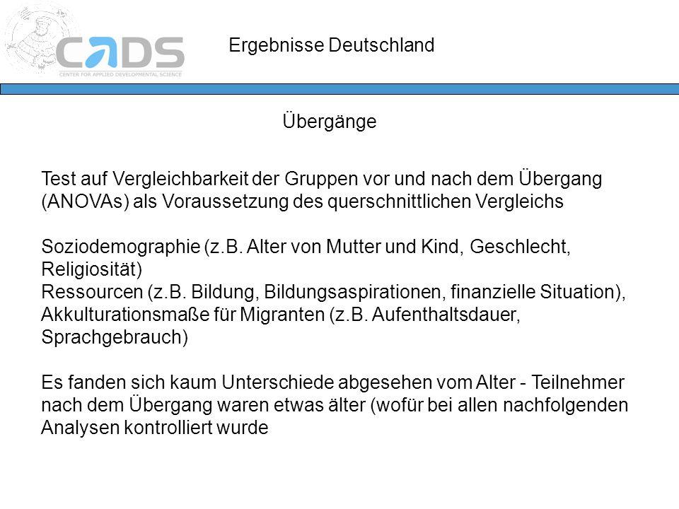 Ergebnisse Deutschland Übergänge Test auf Vergleichbarkeit der Gruppen vor und nach dem Übergang (ANOVAs) als Voraussetzung des querschnittlichen Verg