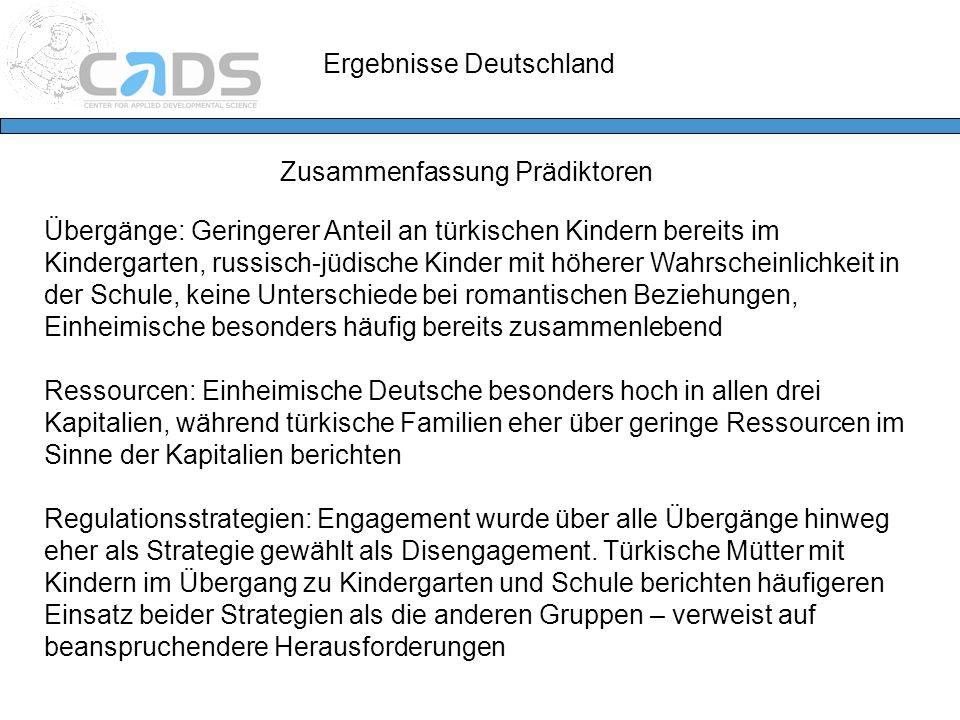 Ergebnisse Deutschland Zusammenfassung Prädiktoren Übergänge: Geringerer Anteil an türkischen Kindern bereits im Kindergarten, russisch-jüdische Kinde