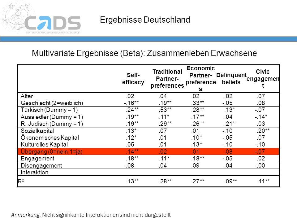 Ergebnisse Deutschland Multivariate Ergebnisse (Beta): Zusammenleben Erwachsene Anmerkung. Nicht signifikante Interaktionen sind nicht dargestellt Sel