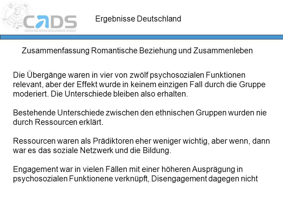 Ergebnisse Deutschland Zusammenfassung Romantische Beziehung und Zusammenleben Die Übergänge waren in vier von zwölf psychosozialen Funktionen relevan
