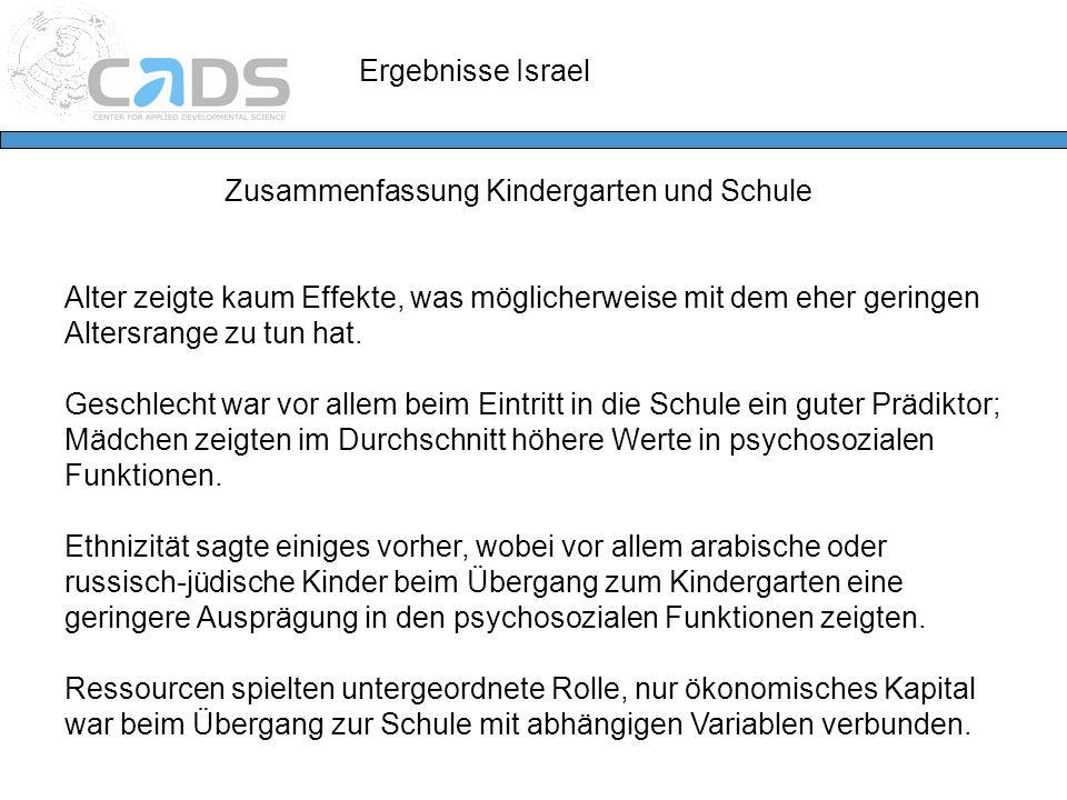 Ergebnisse Israel Zusammenfassung Kindergarten und Schule Alter zeigte kaum Effekte, was möglicherweise mit dem eher geringen Altersrange zu tun hat.