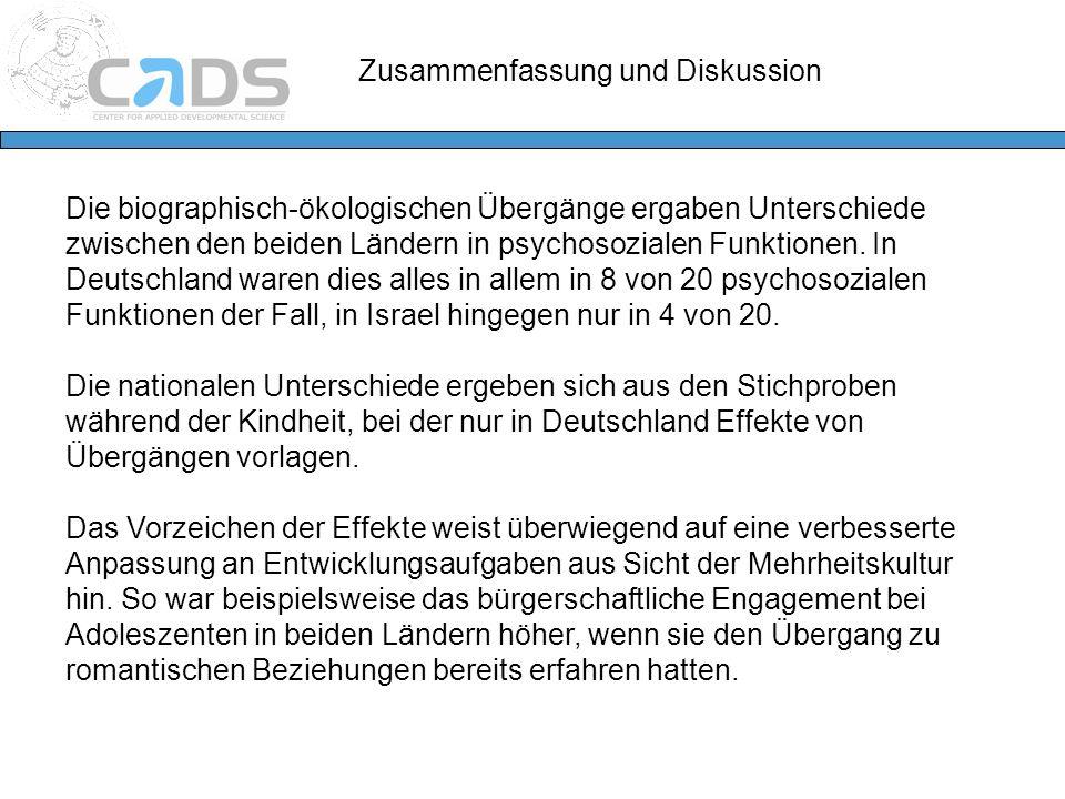Die biographisch-ökologischen Übergänge ergaben Unterschiede zwischen den beiden Ländern in psychosozialen Funktionen. In Deutschland waren dies alles