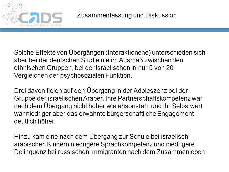 Solche Effekte von Übergängen (Interaktionene) unterschieden sich aber bei der deutschen Studie nie im Ausmaß zwischen den ethnischen Gruppen, bei der