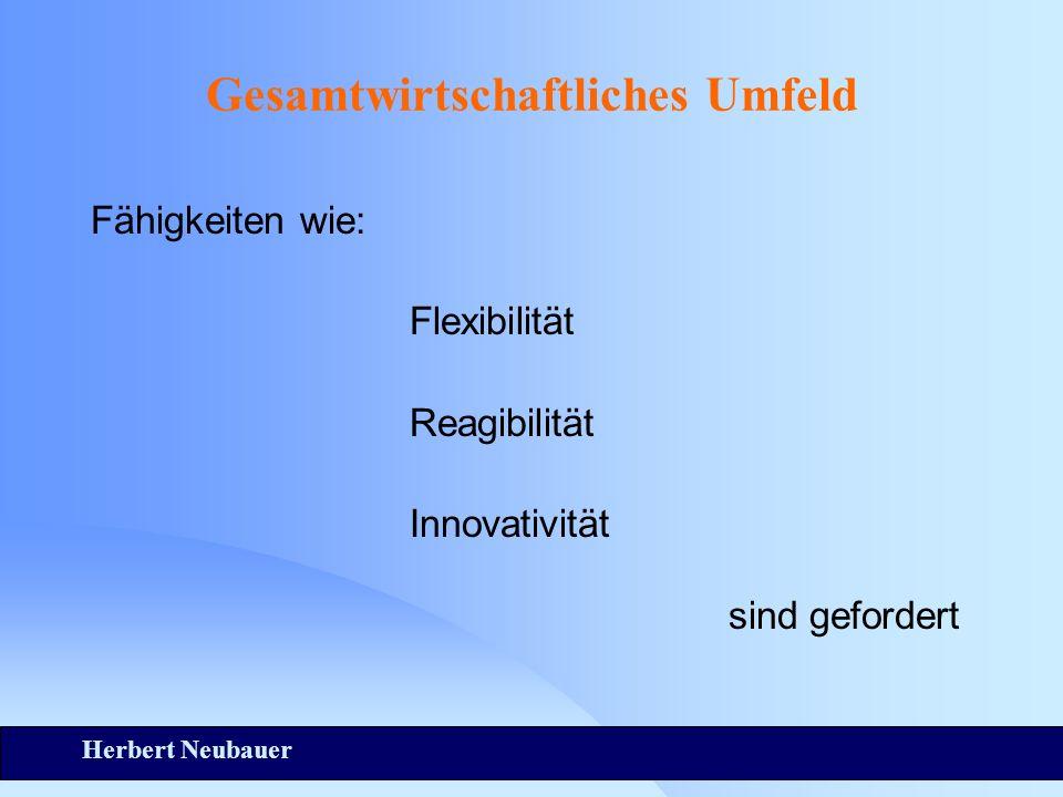 Herbert Neubauer Gesamtwirtschaftliches Umfeld Fähigkeiten wie: Flexibilität Reagibilität Innovativität sind gefordert