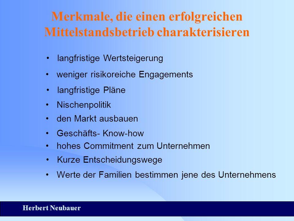 Herbert Neubauer Merkmale, die einen erfolgreichen Mittelstandsbetrieb charakterisieren Werte der Familien bestimmen jene des Unternehmens langfristig