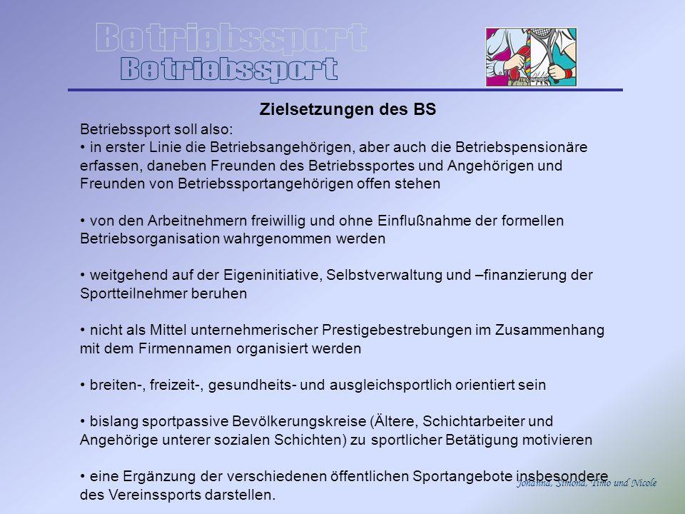 Johanna, Simona, Timo und Nicole Zielsetzungen des BS Betriebssport soll also: in erster Linie die Betriebsangehörigen, aber auch die Betriebspensionä