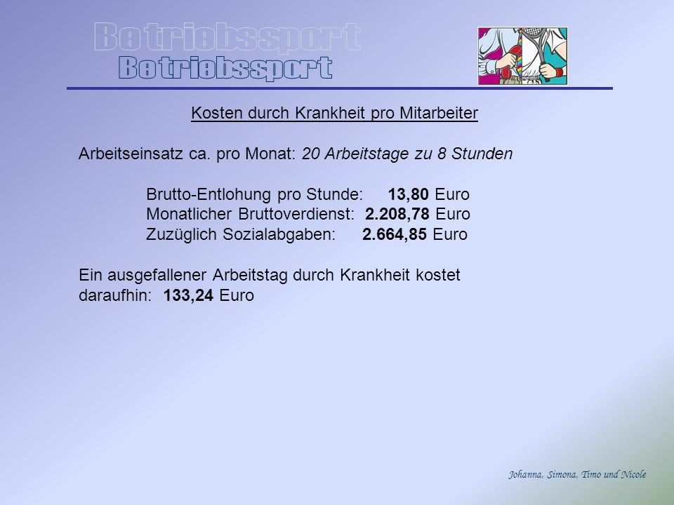 Johanna, Simona, Timo und Nicole Kosten durch Krankheit pro Mitarbeiter Arbeitseinsatz ca. pro Monat: 20 Arbeitstage zu 8 Stunden Brutto-Entlohung pro