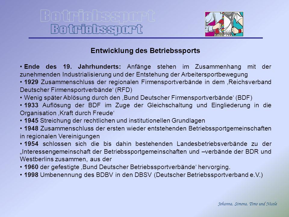 Johanna, Simona, Timo und Nicole Aktuelle Situation in Deutschland Die aktuelle Situation des Betriebssports ist das Ergebnis einer Auseinandersetzung unterschiedlicher gesellschaftlicher Interessengruppen in Bundesrepublik Deutschland.