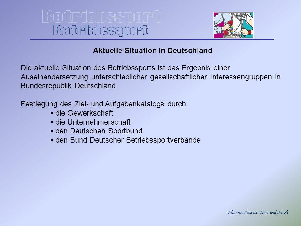 Johanna, Simona, Timo und Nicole Aktuelle Situation in Deutschland Die aktuelle Situation des Betriebssports ist das Ergebnis einer Auseinandersetzung