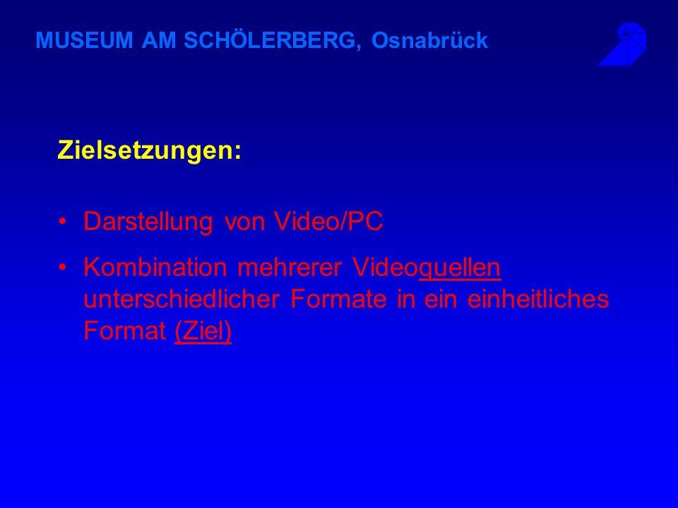 MUSEUM AM SCHÖLERBERG, Osnabrück Zielsetzungen: Darstellung von Video/PC Kombination mehrerer Videoquellen unterschiedlicher Formate in ein einheitliches Format (Ziel)