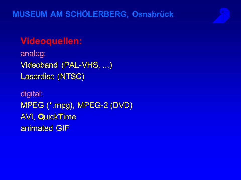 MUSEUM AM SCHÖLERBERG, Osnabrück Videoquellen: analog: Videoband (PAL-VHS,...) Laserdisc (NTSC) digital: MPEG (*.mpg), MPEG-2 (DVD) AVI, QuickTime animated GIF