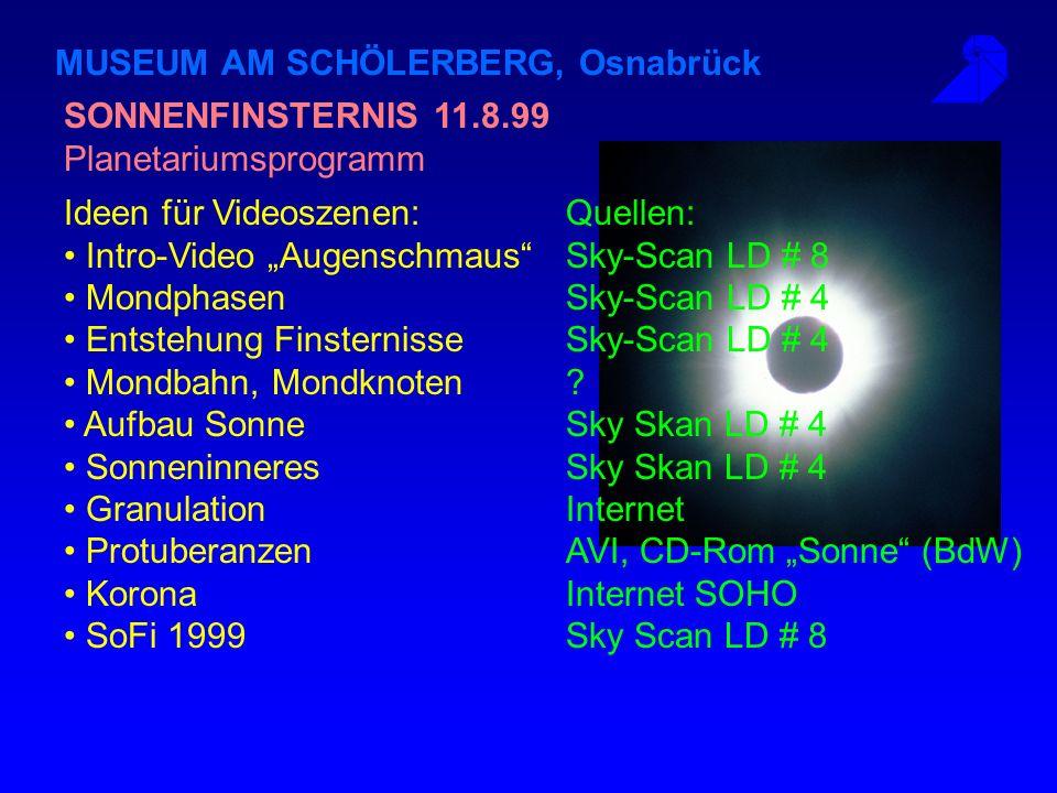 MUSEUM AM SCHÖLERBERG, Osnabrück Ausrüstung Planetarium Osnabrück: VideoBeamer: Sony mit Eingängen FBAS, Y/C, RGB Quellen: Pioneer LD-Player, S-VHS Re