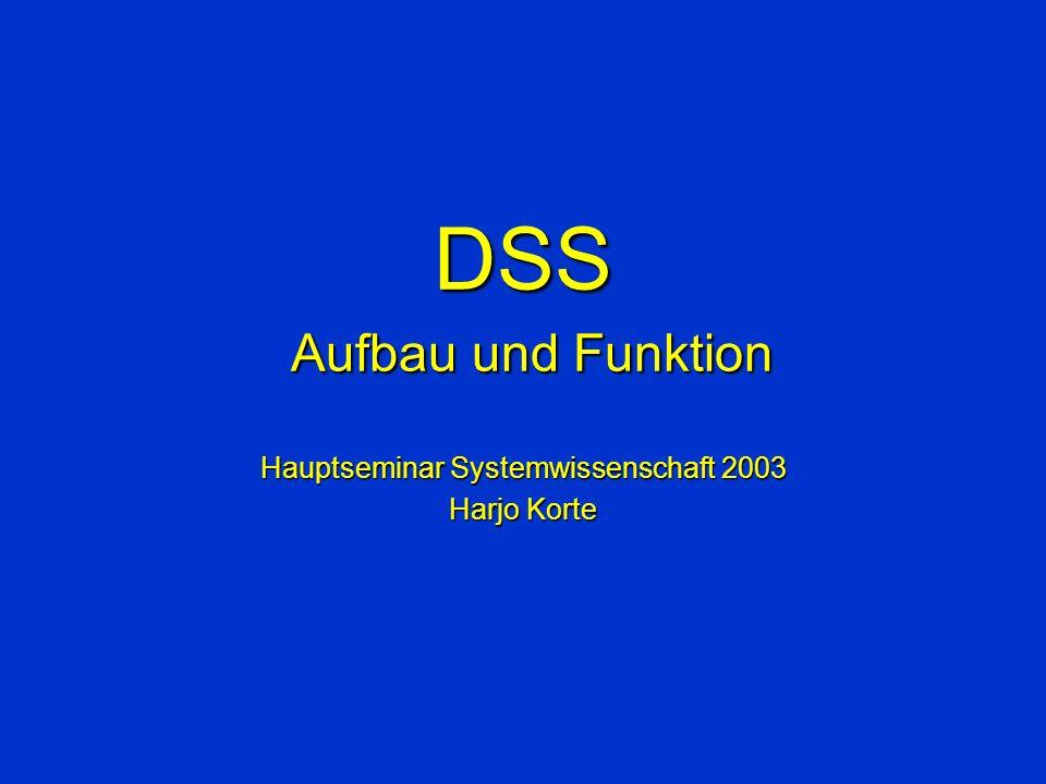 Definitionen I Stahlknecht : –… unter DSS kann ein computerbasiertes System verstanden werden, das neben der Bereitstellung von Führungsinformationen das Management zusätzlich in die Lage versetzt, diese Informationen aktiv zu nutzen.