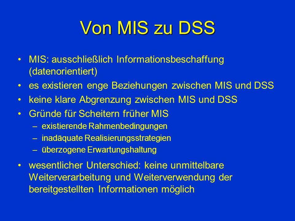 Charakterisierung von DSS rechnergestützte Systeme, die Entscheidungsträger in schlecht strukturierten Entscheidungssituationen unterstützen.