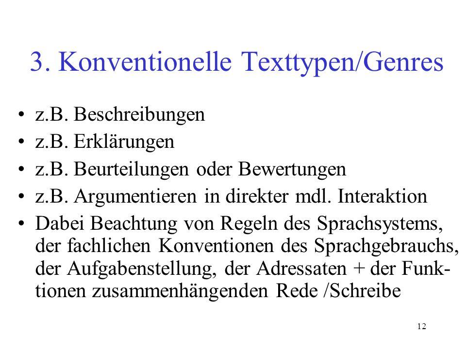 12 3. Konventionelle Texttypen/Genres z.B. Beschreibungen z.B. Erklärungen z.B. Beurteilungen oder Bewertungen z.B. Argumentieren in direkter mdl. Int