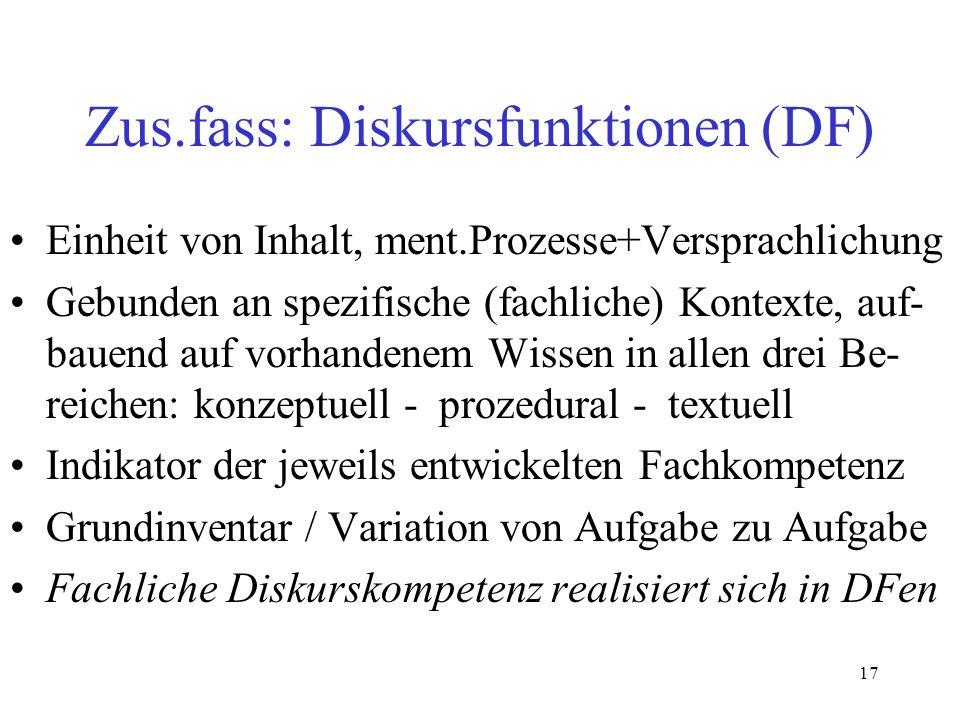 17 Zus.fass: Diskursfunktionen (DF) Einheit von Inhalt, ment.Prozesse+Versprachlichung Gebunden an spezifische (fachliche) Kontexte, auf- bauend auf v