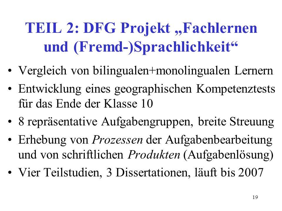 19 TEIL 2: DFG Projekt Fachlernen und (Fremd-)Sprachlichkeit Vergleich von bilingualen+monolingualen Lernern Entwicklung eines geographischen Kompeten