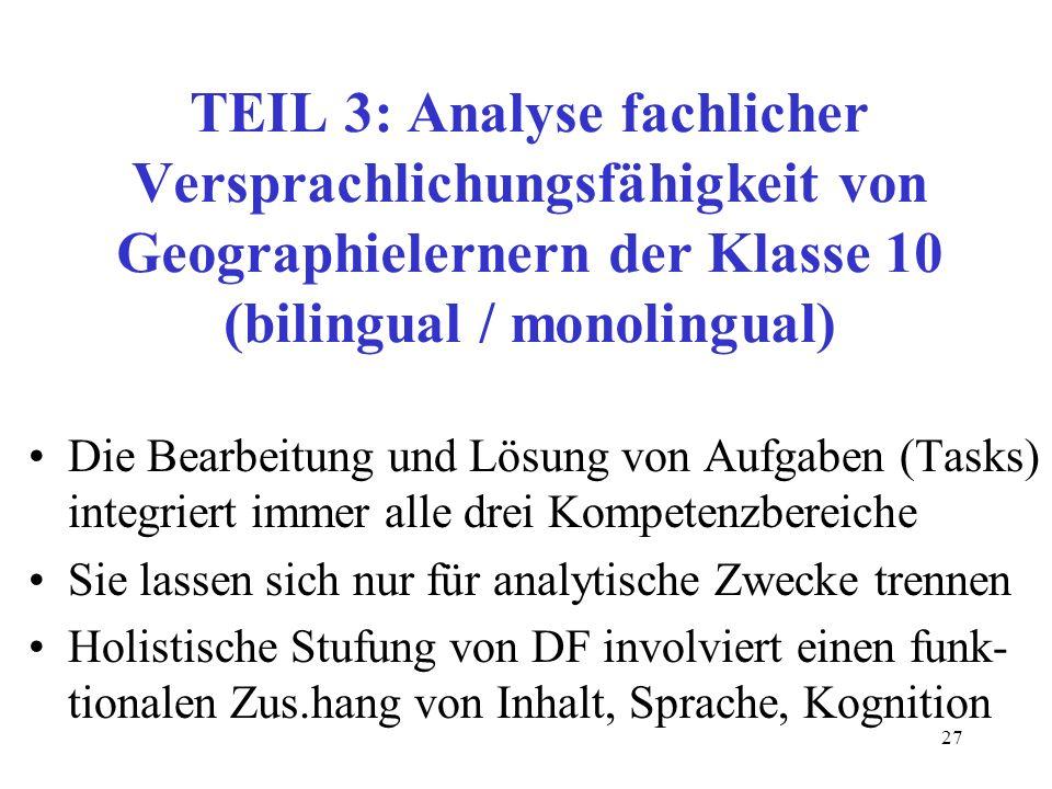 27 TEIL 3: Analyse fachlicher Versprachlichungsfähigkeit von Geographielernern der Klasse 10 (bilingual / monolingual) Die Bearbeitung und Lösung von