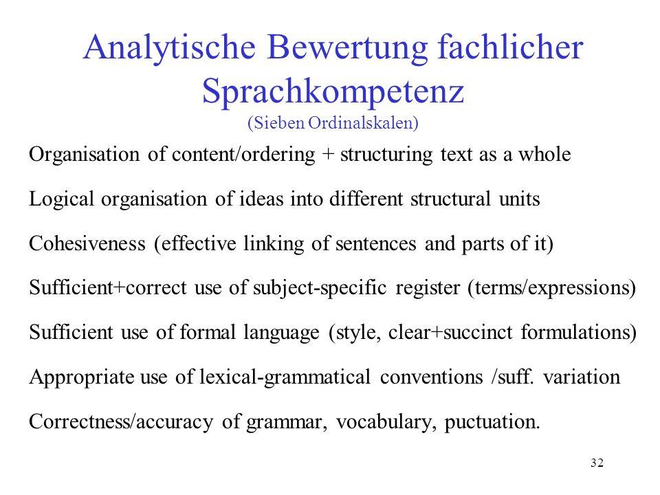 32 Analytische Bewertung fachlicher Sprachkompetenz (Sieben Ordinalskalen) Organisation of content/ordering + structuring text as a whole Logical orga