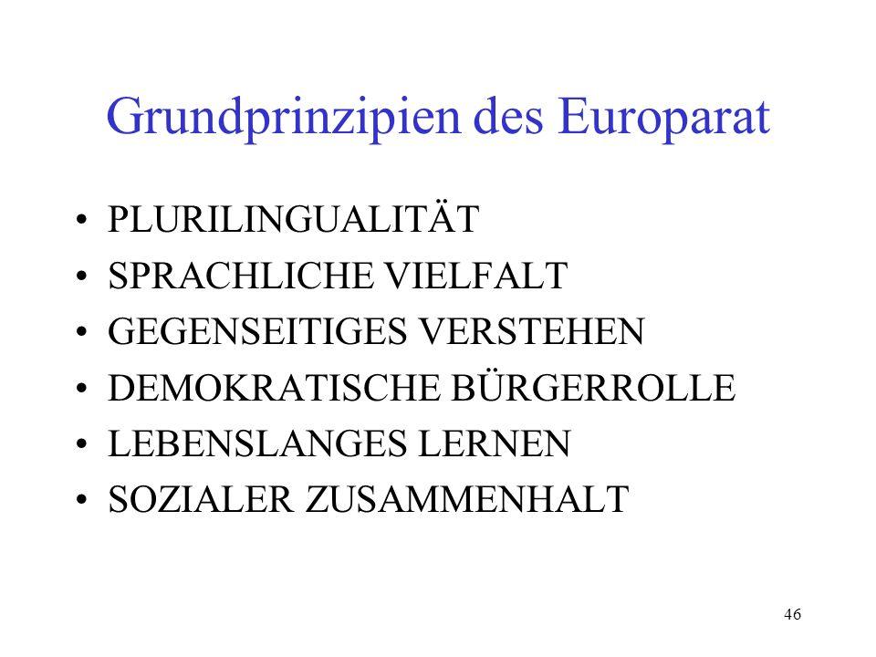 46 Grundprinzipien des Europarat PLURILINGUALITÄT SPRACHLICHE VIELFALT GEGENSEITIGES VERSTEHEN DEMOKRATISCHE BÜRGERROLLE LEBENSLANGES LERNEN SOZIALER