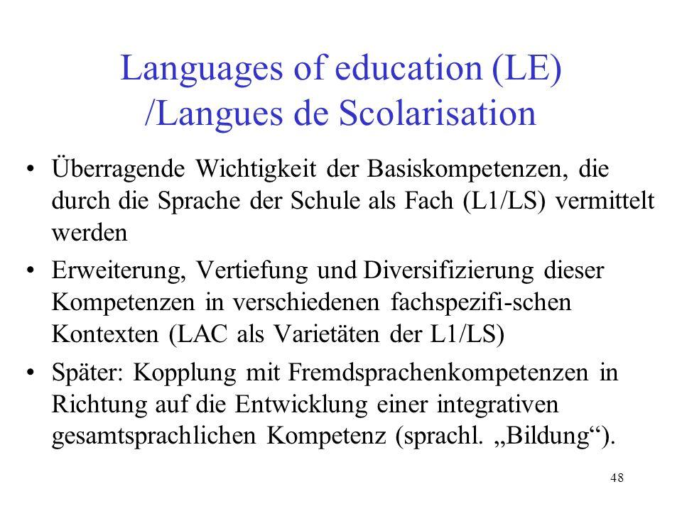 48 Languages of education (LE) /Langues de Scolarisation Überragende Wichtigkeit der Basiskompetenzen, die durch die Sprache der Schule als Fach (L1/L