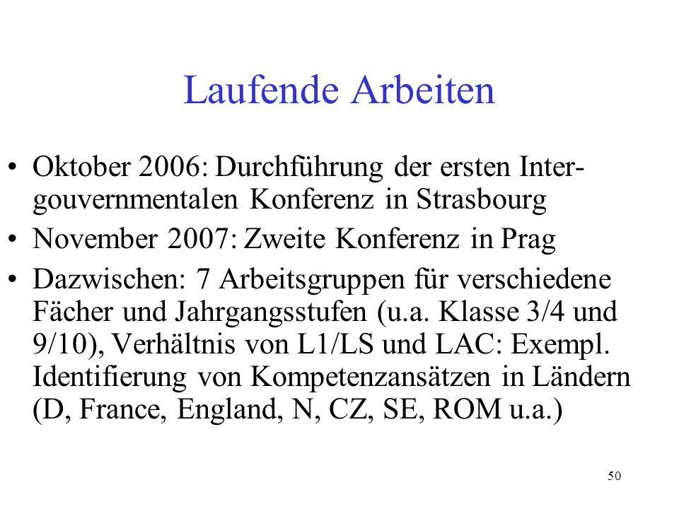 50 Laufende Arbeiten Oktober 2006: Durchführung der ersten Inter- gouvernmentalen Konferenz in Strasbourg November 2007: Zweite Konferenz in Prag Dazw
