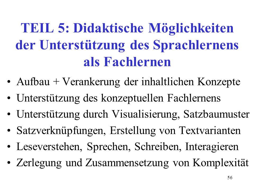 56 TEIL 5: Didaktische Möglichkeiten der Unterstützung des Sprachlernens als Fachlernen Aufbau + Verankerung der inhaltlichen Konzepte Unterstützung d