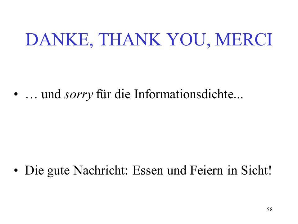 58 DANKE, THANK YOU, MERCI … und sorry für die Informationsdichte... Die gute Nachricht: Essen und Feiern in Sicht!