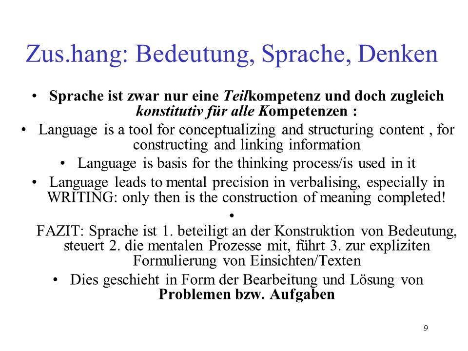9 Zus.hang: Bedeutung, Sprache, Denken Sprache ist zwar nur eine Teilkompetenz und doch zugleich konstitutiv für alle Kompetenzen : Language is a tool