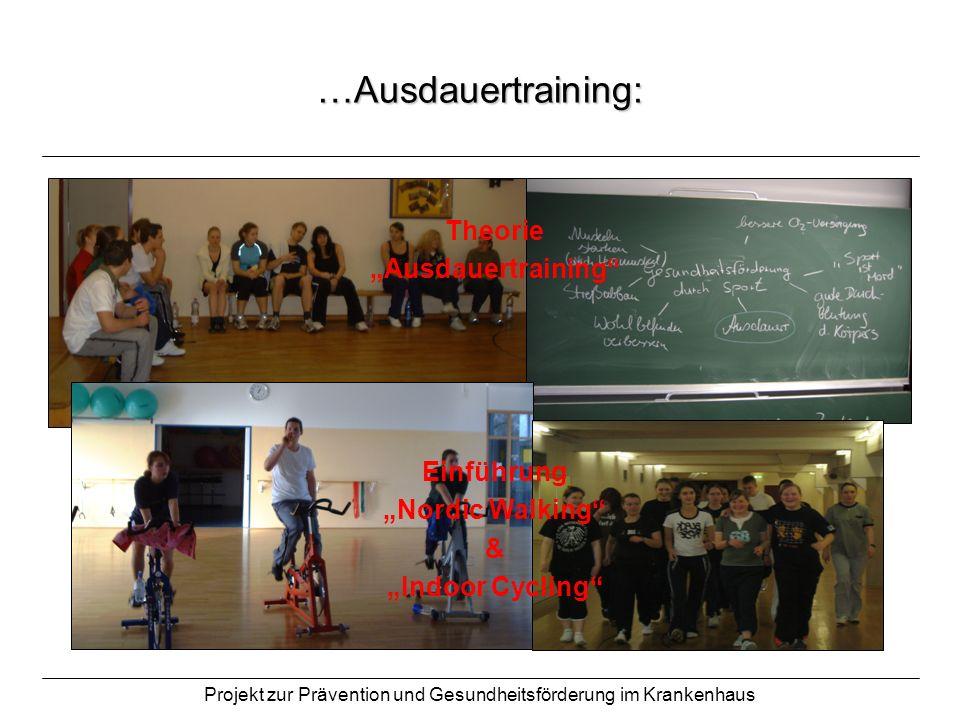 Projekt zur Prävention und Gesundheitsförderung im Krankenhaus …Ausdauertraining: Theorie Ausdauertraining Einführung Nordic Walking & Indoor Cycling