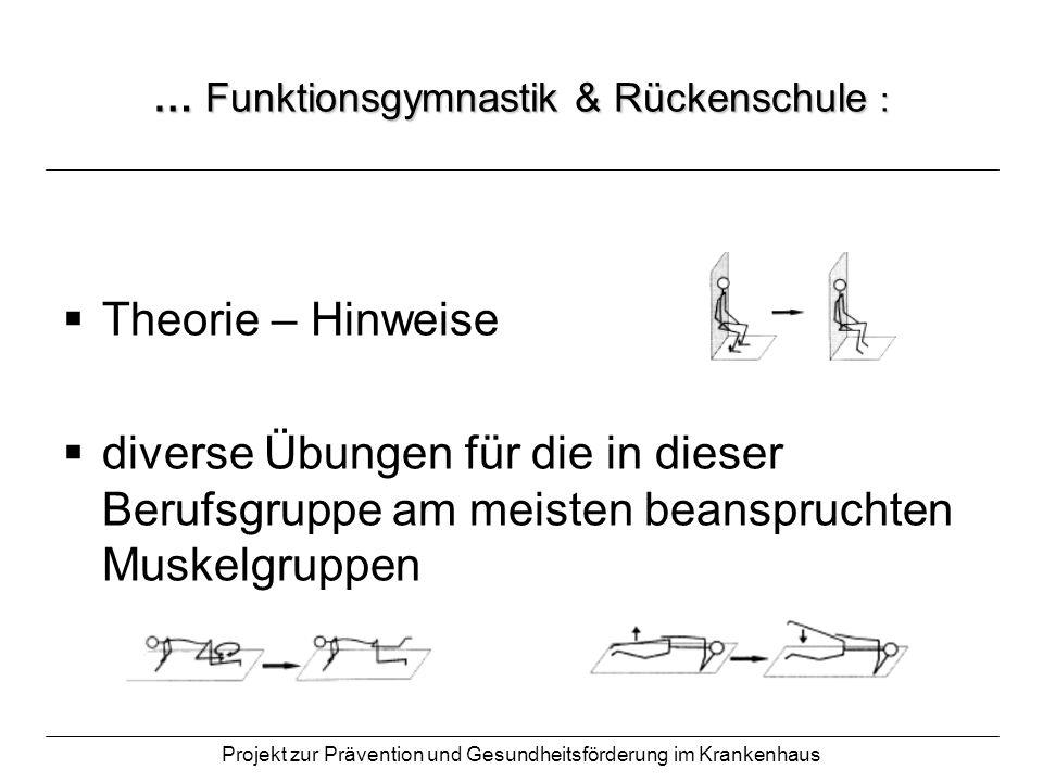 Projekt zur Prävention und Gesundheitsförderung im Krankenhaus … Funktionsgymnastik & Rückenschule : Theorie – Hinweise diverse Übungen für die in die
