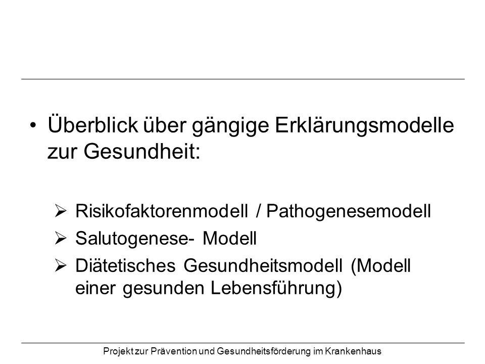 Projekt zur Prävention und Gesundheitsförderung im Krankenhaus Überblick über gängige Erklärungsmodelle zur Gesundheit: Risikofaktorenmodell / Pathoge