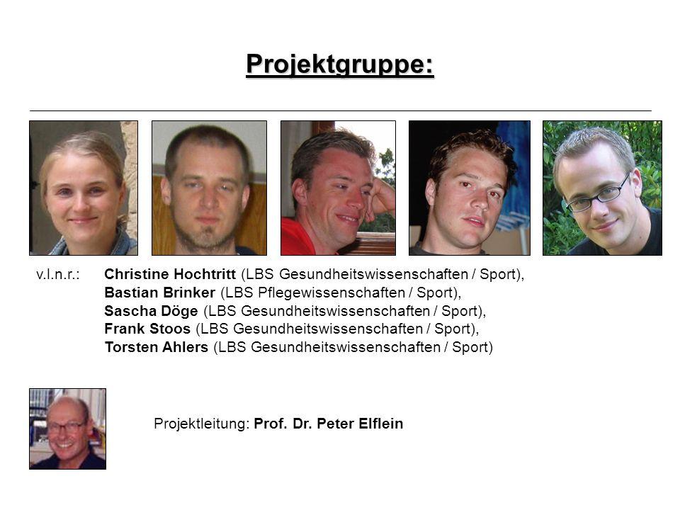Projekt zur Prävention und Gesundheitsförderung im Krankenhaus Projektgruppe: v.l.n.r.: Christine Hochtritt (LBS Gesundheitswissenschaften / Sport), B