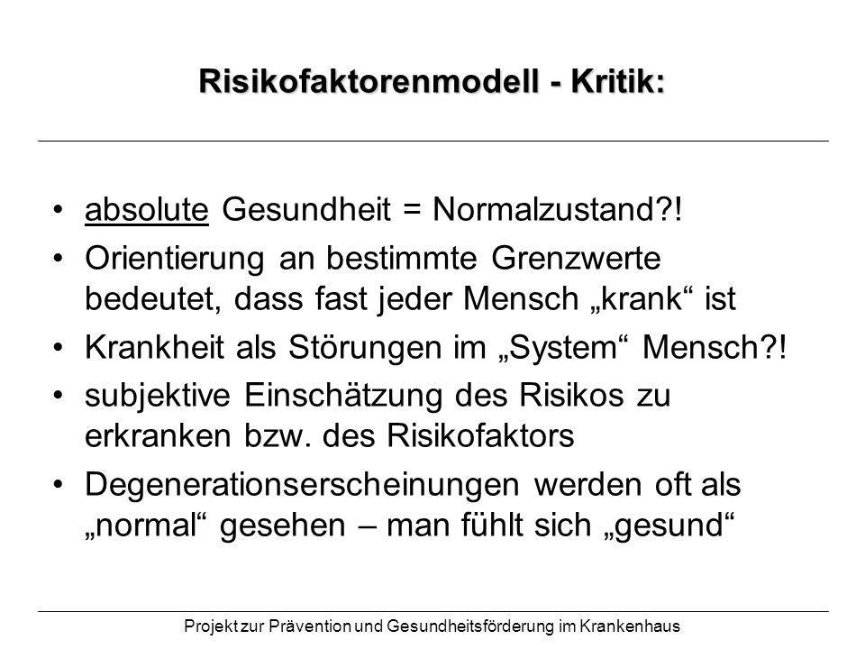 Projekt zur Prävention und Gesundheitsförderung im Krankenhaus Risikofaktorenmodell - Kritik: absolute Gesundheit = Normalzustand?! Orientierung an be