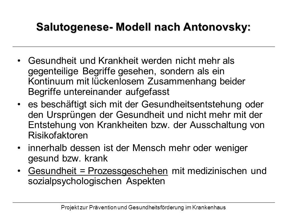 Projekt zur Prävention und Gesundheitsförderung im Krankenhaus Salutogenese- Modell nach Antonovsky: Gesundheit und Krankheit werden nicht mehr als ge