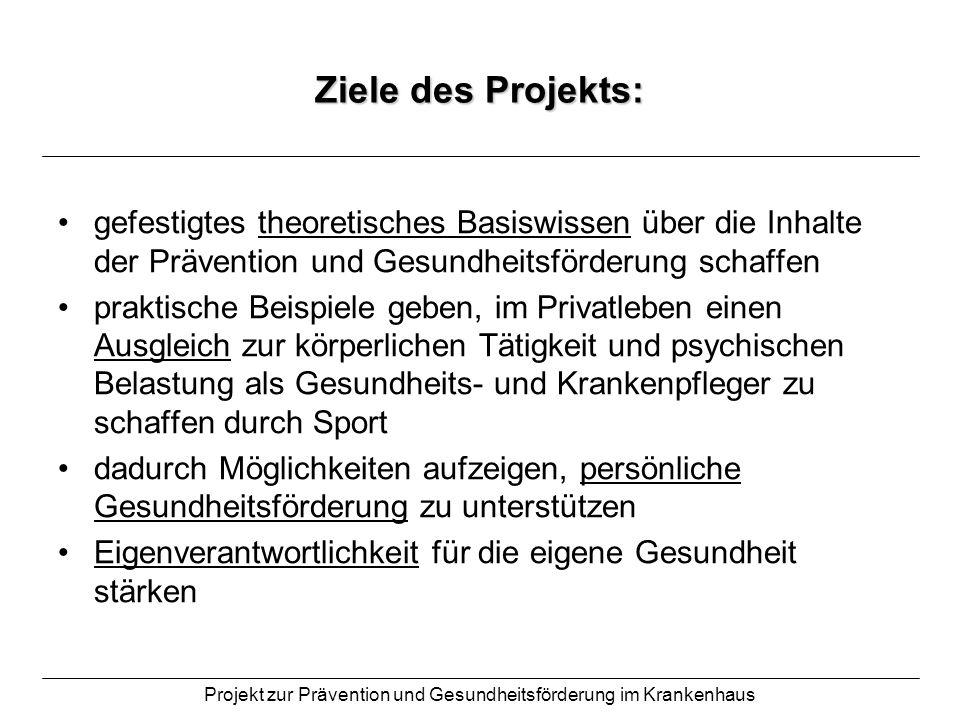 Projekt zur Prävention und Gesundheitsförderung im Krankenhaus Ziele des Projekts: gefestigtes theoretisches Basiswissen über die Inhalte der Präventi